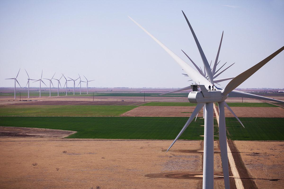 Vestas wind turbines on farm fields