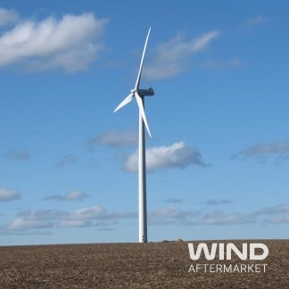 micon wind turbines on freshly planted farm field